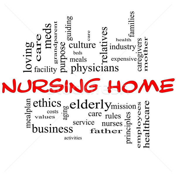 Nursing Home Word Cloud Concept in red and black Stock photo © mybaitshop