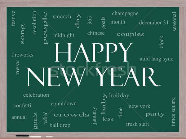 Happy New Year Word Cloud Concept on a Blackboard Stock photo © mybaitshop