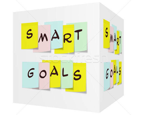 Smart Goals written on colorful sticky notes on a 3D cube Stock photo © mybaitshop