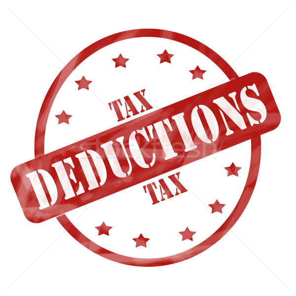 Red Weathered Tax Deduction Stamp Circle and Stars Stock photo © mybaitshop