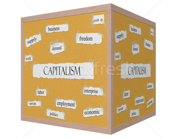 Capitalism 3D cube Corkboard Word Concept Stock photo © mybaitshop