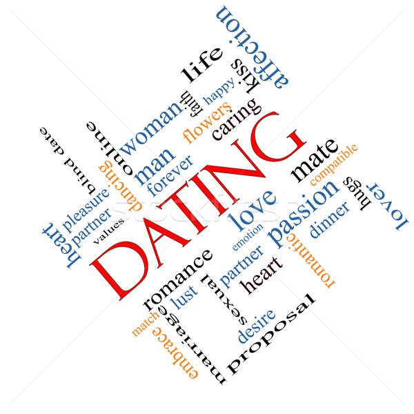 Dating Word Cloud Concept Angled Stock photo © mybaitshop