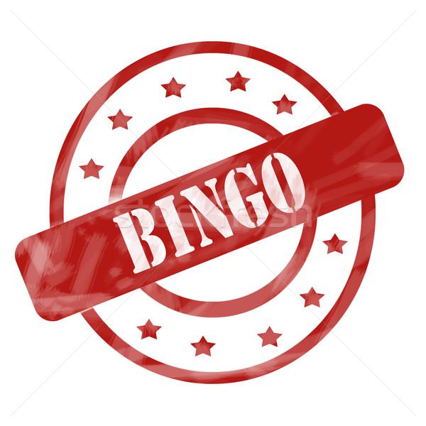 Rood verweerde bingo stempel cirkels sterren Stockfoto © mybaitshop