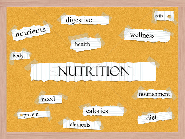 Nutrition Corkboard Word Concept Stock photo © mybaitshop