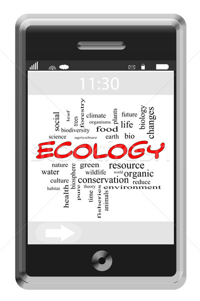 Ecology Word Cloud Concept on a Touchscreen Phone Stock photo © mybaitshop
