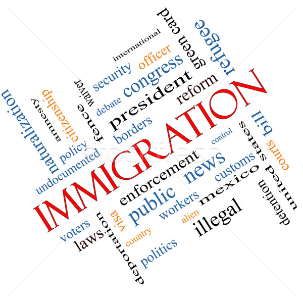Immigration Word Cloud Concept Angled Stock photo © mybaitshop