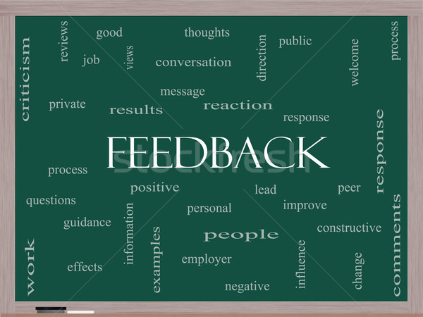 Feedback Word Cloud Concept on a Blackboard Stock photo © mybaitshop