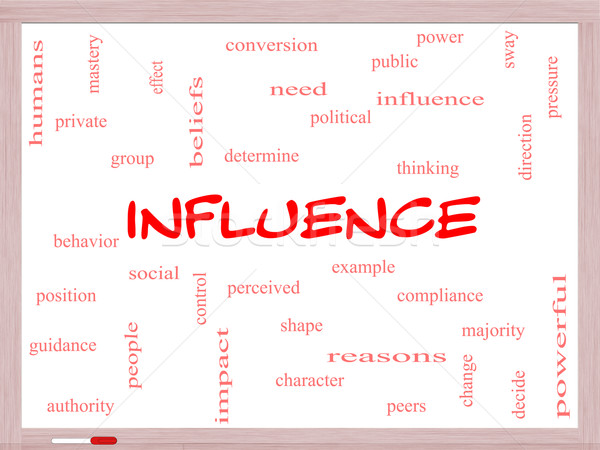 Influence Word Cloud Concept on a Whiteboard Stock photo © mybaitshop