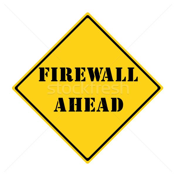 Firewall vooruit teken Geel zwarte diamant Stockfoto © mybaitshop