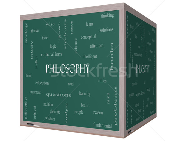 Philosophy Word Cloud Concept on a 3D cube Blackboard Stock photo © mybaitshop