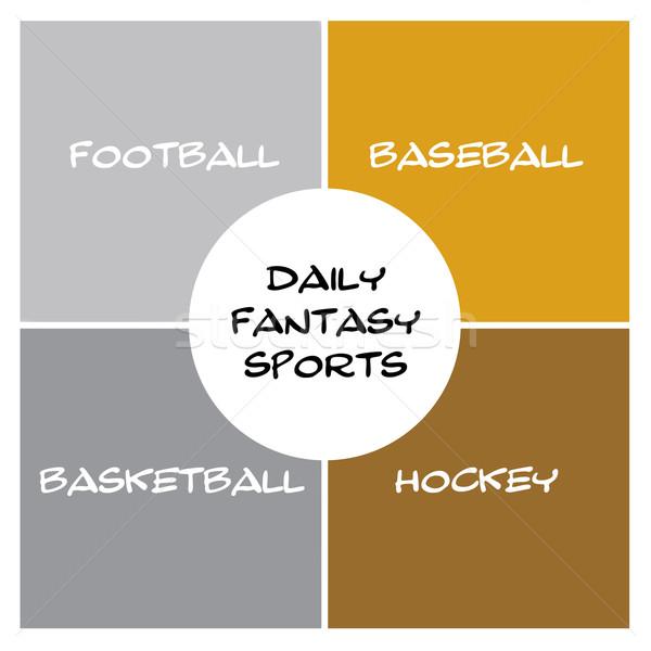 Minden nap fantázia sportok dobozok kör ezüst Stock fotó © mybaitshop
