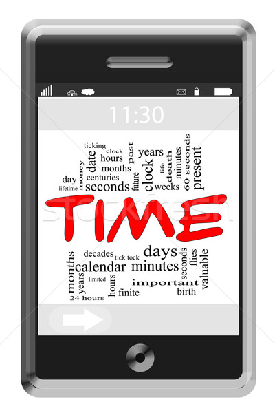 Time Word Cloud Concept on Touchscreen Phone Stock photo © mybaitshop
