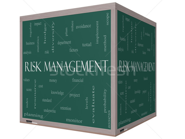 Risk Management Word Cloud Concept on a 3D Cube Blackboard Stock photo © mybaitshop