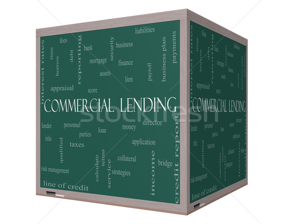 Commercial Lending Word Cloud Concept on a 3D cube Blackboard Stock photo © mybaitshop