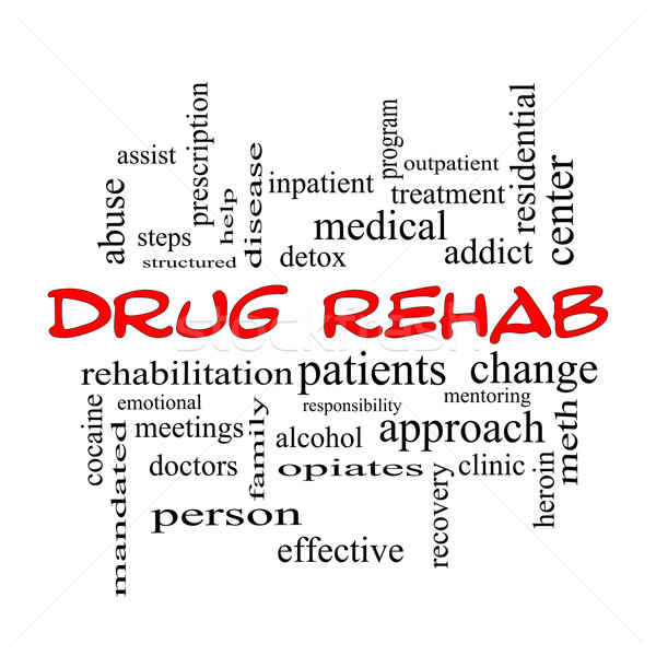 Drug Rehab Word Cloud Concept in red caps Stock photo © mybaitshop