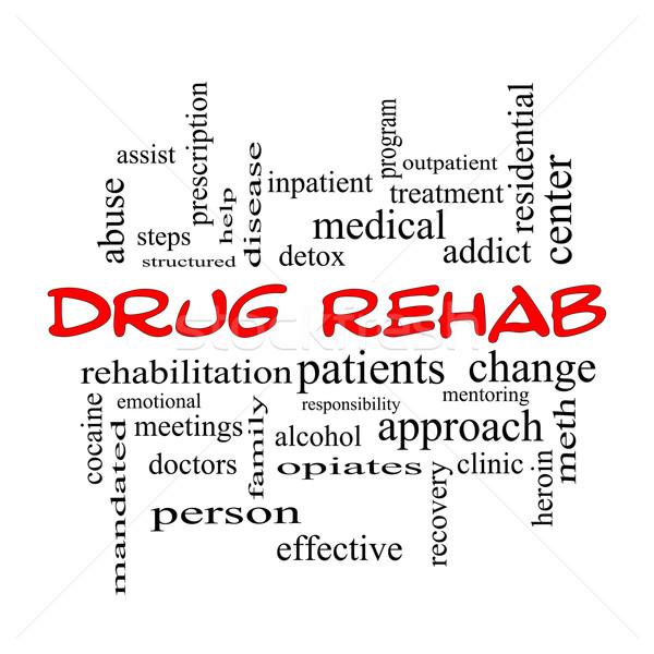 Drogue rehab nuage de mots rouge magnifique aider Photo stock © mybaitshop
