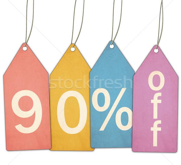 Сток-фото: процент · продажи · красочный · красный