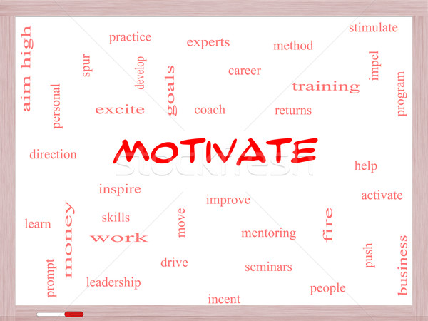 Motivate Word Cloud Concept on a Whiteboard Stock photo © mybaitshop