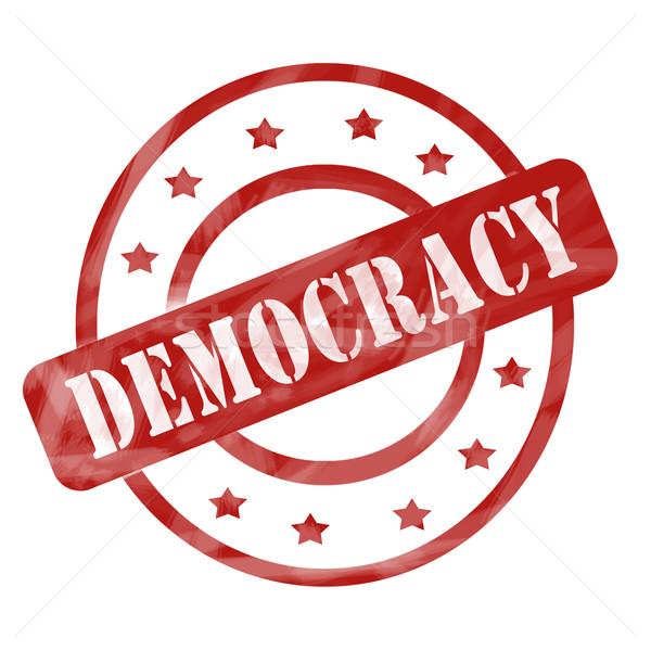 красный выветрившийся демократия штампа Круги звезды Сток-фото © mybaitshop