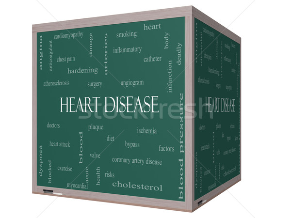 Heart Disease Word Cloud Concept on a 3D cube Blackboard Stock photo © mybaitshop
