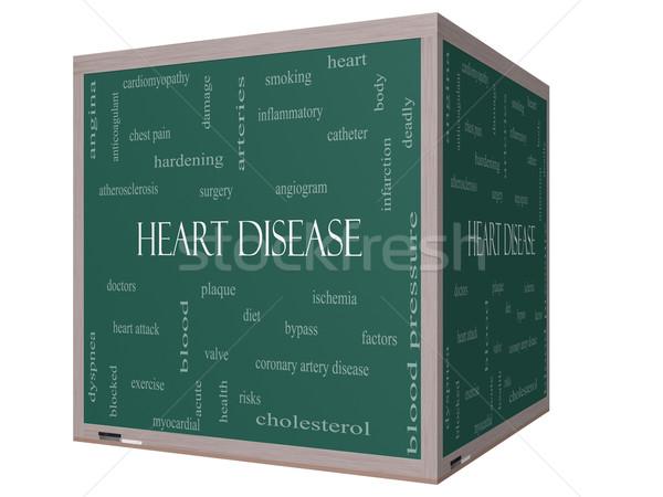 Foto d'archivio: Malattie · cardiache · word · cloud · 3D · cubo · lavagna