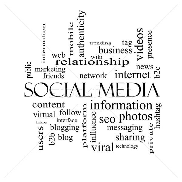 ソーシャルメディア 言葉の雲 黒白 ネットワーク コンテンツ ストックフォト © mybaitshop