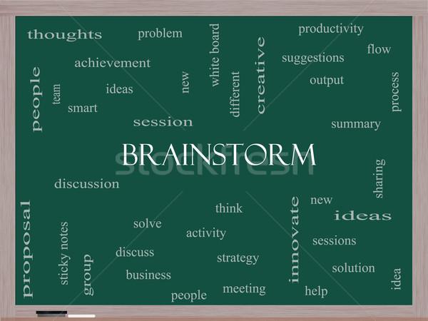 Brainstorm Word Cloud Concept on a Blackboard Stock photo © mybaitshop