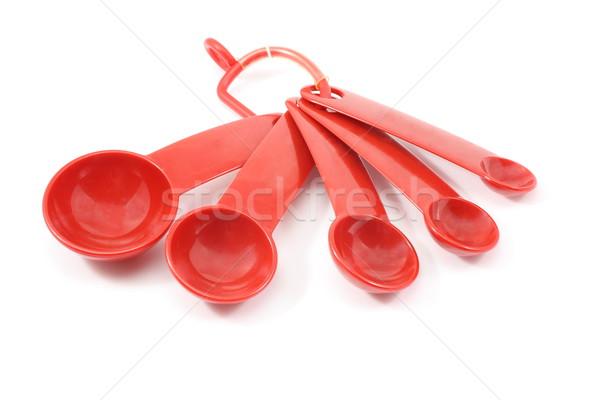 Piros mérés kanalak fehér konyha Stock fotó © mybaitshop