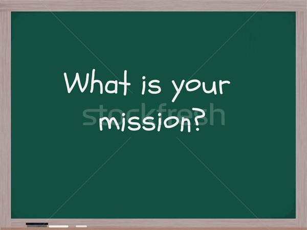 Wat missie Blackboard woorden geschreven witte Stockfoto © mybaitshop