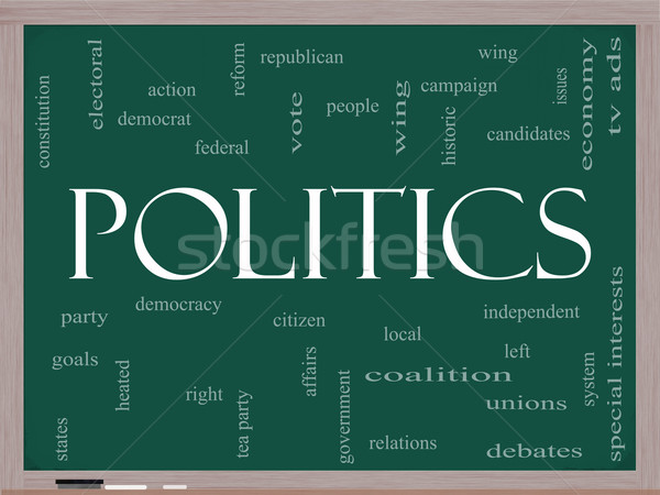 Politics Word Cloud Concept on a Blackboard Stock photo © mybaitshop
