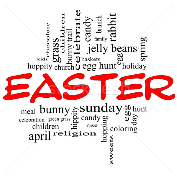 Easter Word Cloud Concept in Red Caps Stock photo © mybaitshop