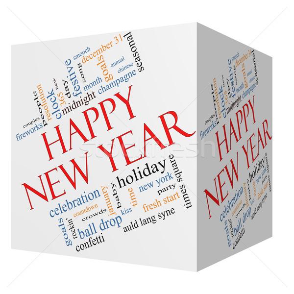 Boldog új évet 3D kocka szófelhő nagyszerű ünneplés Stock fotó © mybaitshop