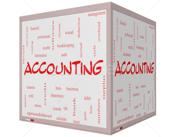 Accounting Word Cloud Concept on a 3D cube Whiteboard Stock photo © mybaitshop