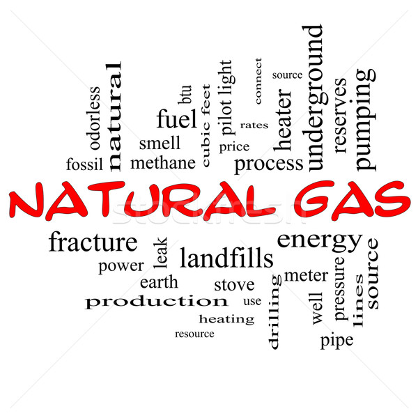 Natural Gas Word Cloud Concept in red caps Stock photo © mybaitshop