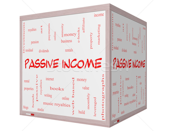 Passive Income Word Cloud Concept on a 3D cube Whiteboard Stock photo © mybaitshop
