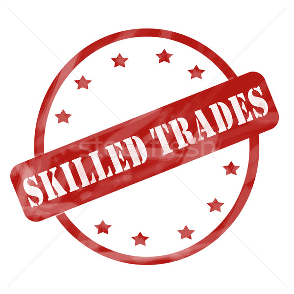 Red Weathered Skilled Trades Stamp Circle and Stars Stock photo © mybaitshop