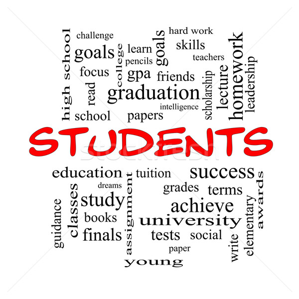 Students Word Cloud Concept in red caps Stock photo © mybaitshop