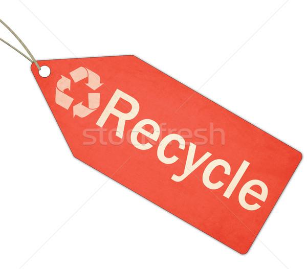 Recycle красный тег строку белый Сток-фото © mybaitshop