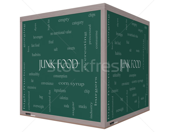 Ungesundes Essen Wort-Wolke 3D Würfel Tafel groß Stock foto © mybaitshop