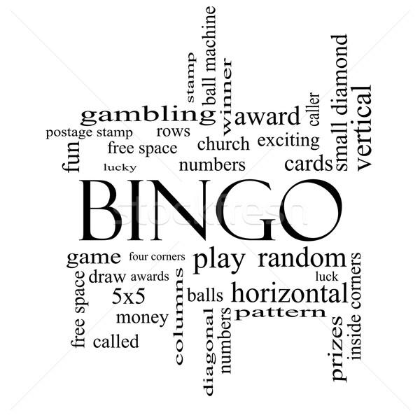 Bingo nube de palabras blanco negro números Foto stock © mybaitshop