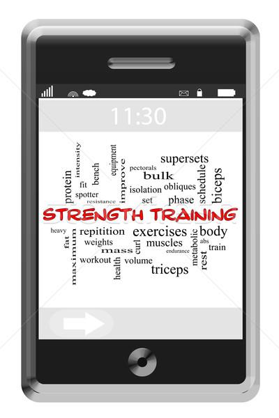 Trening siłowy chmura słowo ekran dotykowy telefonu wagi Zdjęcia stock © mybaitshop