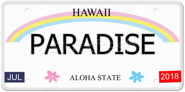 Paradise Hawaii License Plate Stock photo © mybaitshop