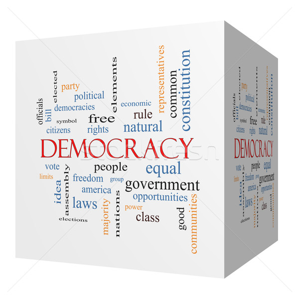 Democracy 3D cube Word Cloud Concept Stock photo © mybaitshop