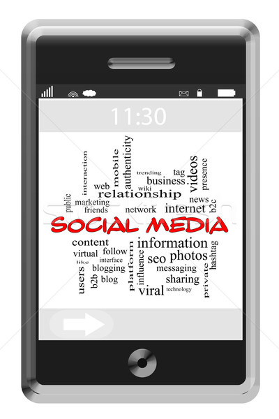 Social Media Word Cloud Concept on a Touchscreen Phone Stock photo © mybaitshop