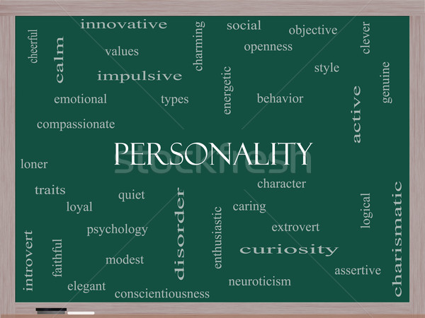 Personality Word Cloud Concept on a Blackboard Stock photo © mybaitshop