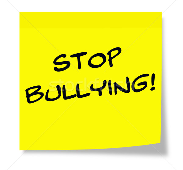 Stop megfélemlítés öntapadó jegyzet írott papír citromsárga Stock fotó © mybaitshop