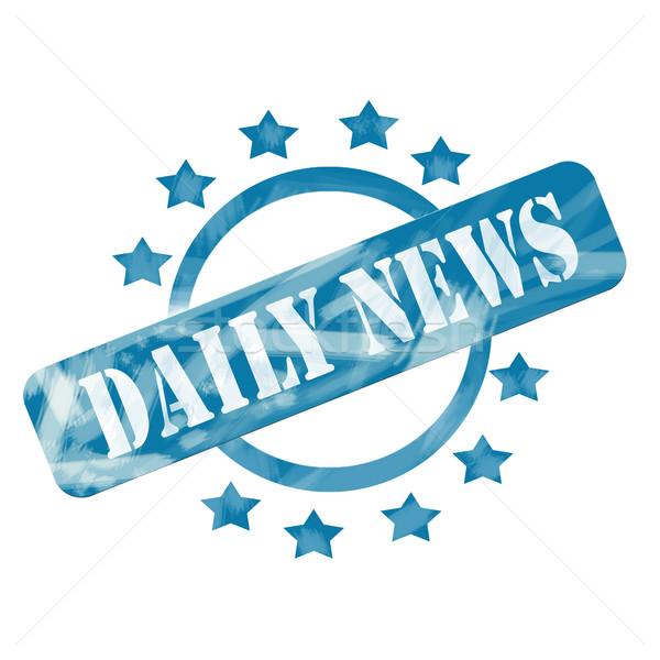Azul resistiu diariamente notícia carimbo círculo Foto stock © mybaitshop