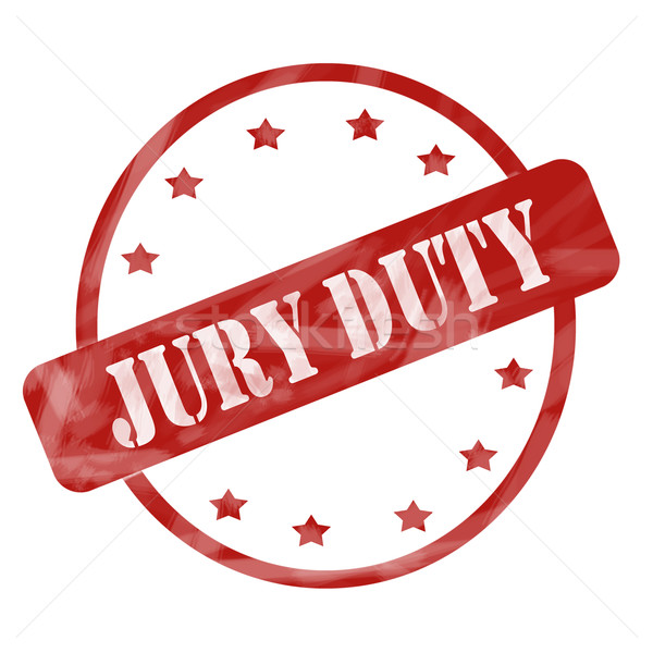 Red Weathered Jury Duty Stamp Circle and Stars Stock photo © mybaitshop