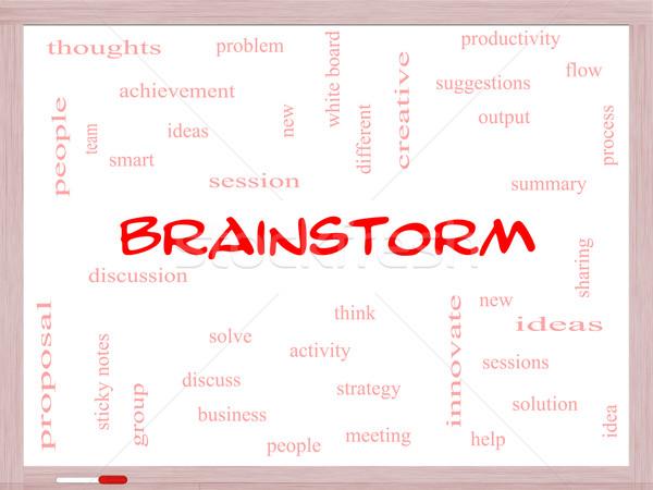 Brainstorm Word Cloud Concept on a Whiteboard Stock photo © mybaitshop