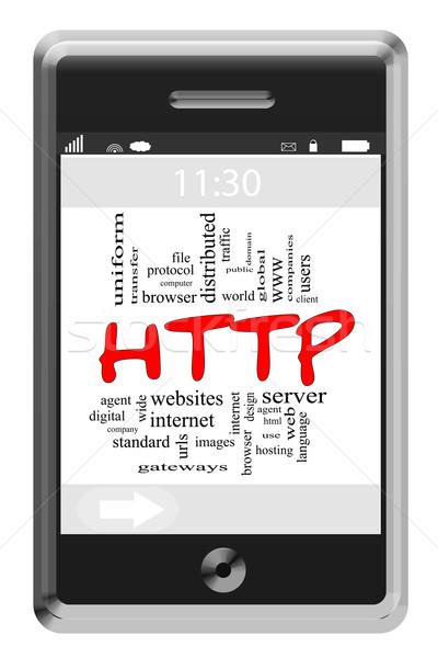 Http 言葉の雲 タッチスクリーン 電話 ホスティング ストックフォト © mybaitshop